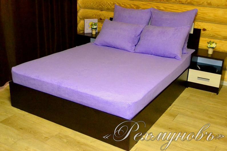 Купить фиолетовый махровый набор (2 наволочки + простынь) оптом