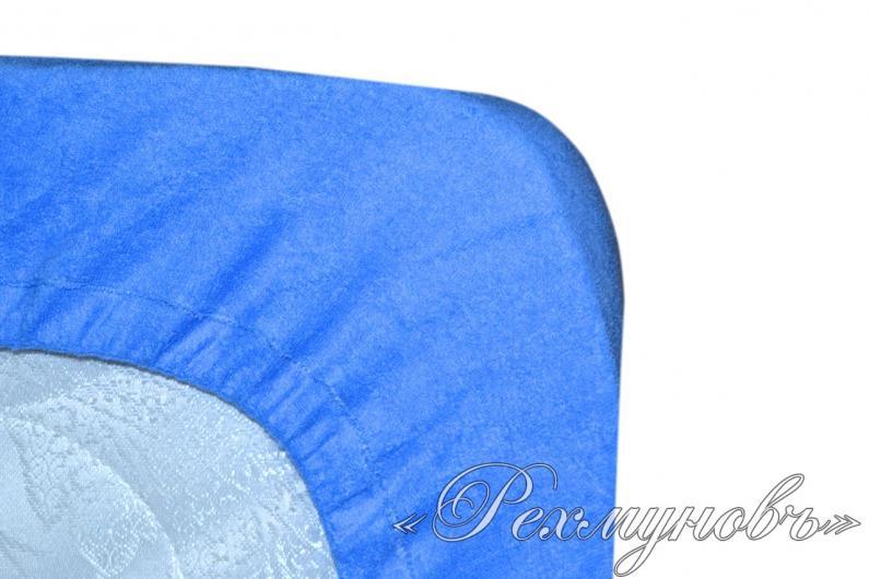 Голубой махровый набор (2 наволочки на молнии + простынь)