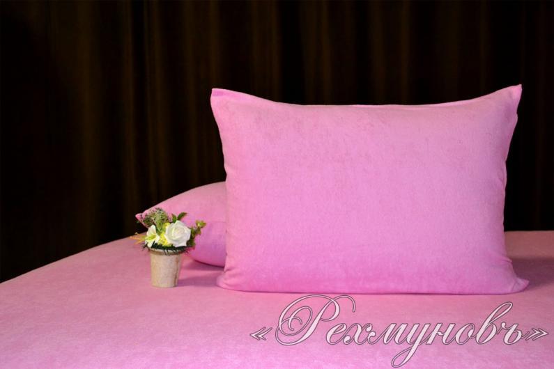 Розовый махровый набор (2 наволочки на молнии + простынь)