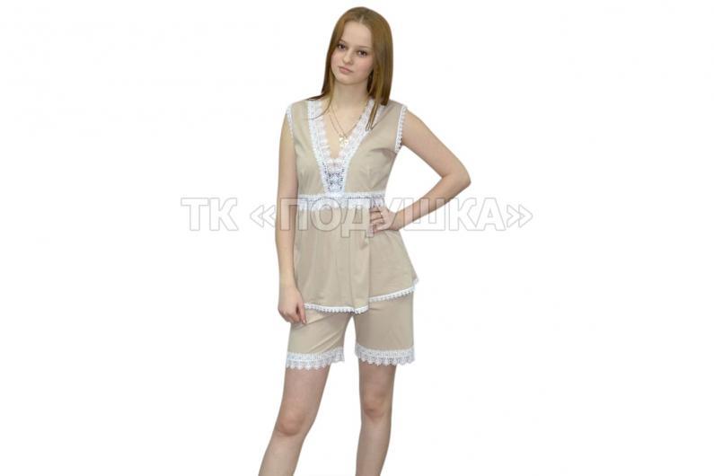 Купить бежевую ночную пижаму «Модница»