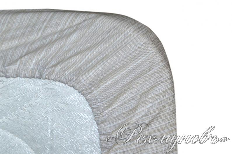 Льняная простынь на резинке «Серая»