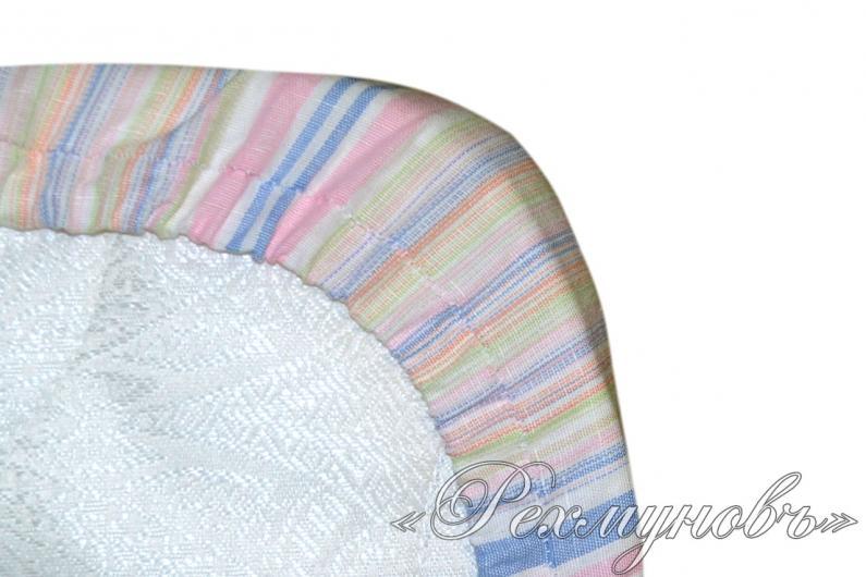 Льняная простынь на резинке «Полоса»