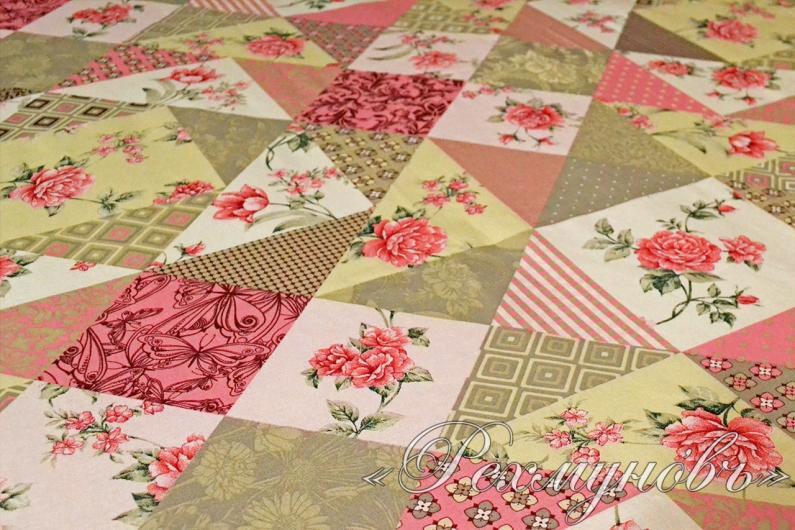 Простынь бязь на резинке «Лоскутная мозаика розовая»